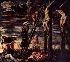 The Crucifixion of Christ // 1568 // Tintoretto // San Cassiano, Venice Renaissance Kunst, Renaissance Paintings, Crucifixion Of Jesus, Jesus Christ, Giorgio Vasari, European Paintings, Italian Painters, Jesus On The Cross, Art Database