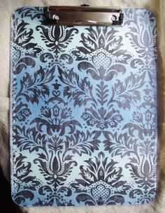Clipboard 9 x 12 Paperclip organizer Blue Floral Clip by Pinoodles