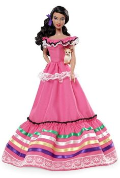 Barbie Collector Dolls of The World Mexico Doll. The Dolls of the World Collection has returned in ancestral dress from various countries Barbie from Mexico is dressed in a wonderfully bright pink dress with ribbon accents Fashio Mattel Barbie, Barbie And Ken, Barbie Dress, Barbie Clothes, Pink Barbie, Barbie Style, Poupées Barbie Collector, Bright Pink Dresses, Chic Chic