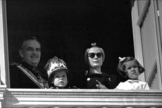 Prince Rainier III and Princess Grace with Princess Caroline and Prince Albert in Monaco, 19 November 1961
