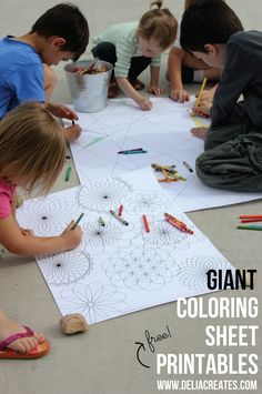 giant coloring sheets - free printables for summer fun; lay them out on the dining room table, hang on the wall, or take them outside to get the neighbor kids in on the fun