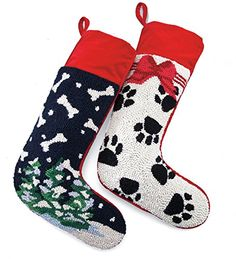Plow & Hearth Hooked Wool Dog Christmas Stockings, in Bones Dog Christmas Stocking, Christmas Stockings, Pet Stockings, Stocking Holders, Hearth, Wool, Pets, Holiday Decor, Bones