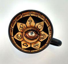 Fortune Teller Teacup - mixed media on ceramic teacup