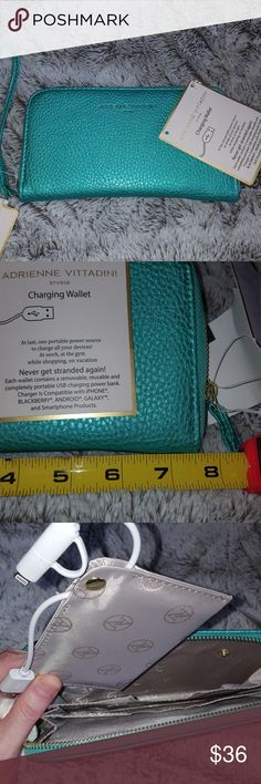 Adrienne Vittadini teal blue green charging wallet Charging zip around phone wallet. Color is teal Pearl Pebble. Suggested retail price is $60. Charge your phone inside your wallet, at last one portable power source to charge all of your devices! At work, at the gym while shopping on vacation never gets traded again! Each while it contains a removable, reusable and completely portable USB charging power bank. Chargers compatible with iPhone, Blackberry, Android, Galaxy, and smartphone…