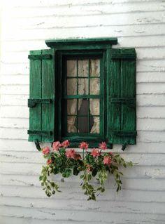 Window Shutters, Window Boxes, Green Shutters, Wooden Shutters, Old Windows, Windows And Doors, Exterior Windows, Small Windows, Exterior Paint