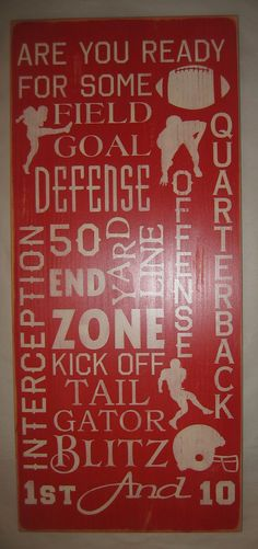 Football Typography Subway Art Man Cave by CottageSignShoppe