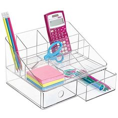mDesign Office Supplies Desk Organizer for Scissors, Pens. Kids Desk Organization, Stationary Organization, Do It Yourself Organization, Desktop Organization, Portable Desk, Work Cubicle, Desk Supplies, Shops, Drawer Organisers