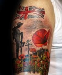 Poppy Flower Soilder Memorial Upper Arm Tattoos For Males Tattoos For Women Half Sleeve, Wrist Tattoos For Guys, Best Tattoos For Women, Upper Arm Tattoos, Leg Tattoos, Sleeve Tattoos, Cool Tattoos, Army Tattoos, Military Tattoos