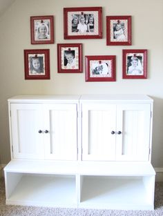 Spray paint picture frames, back with scrapbook paper, hot glue a spray painted clip and be able to switch pictures out whenever.  Super easy, super cute.