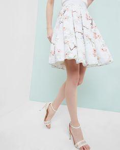 Jupe plissée Oriental Blossom - Gris clair   jupes   Ted Baker FR