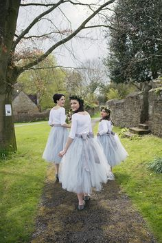 Grey Tulle Skirts Bridesmaids Bows Romantic Country Tipi Wedding http://jodiecoolingphotography.com/