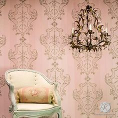 How to Stencil DIY Tutorial + VIDEO - Painting Damask Pattern on Pink Ombre Painted Striped Wall - Elegant Italian Wall Decor and Classic Stencils (Top View Venice Italy) Damask Wall Stencils, Damask Decor, Large Wall Stencil, Stencil Wall Art, Stencil Painting On Walls, Stencil Diy, Wall Stenciling, Pink Accent Walls, Decorative Painting Projects