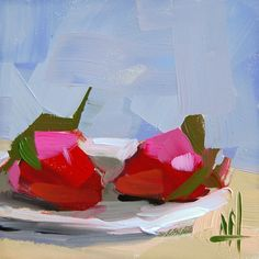 Two Strawberries on Saucer original still life oil painting by Angela Moulton