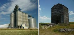 The new South Dakota Wheat Growers facility in Andover, and a long-abandoned grain elevator in Crandall. Photos by Chris Laingen. Story: Where farmers bring their harvest, then and now