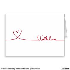 corazón rojo del dibujo lineal con amor tarjeta de felicitación