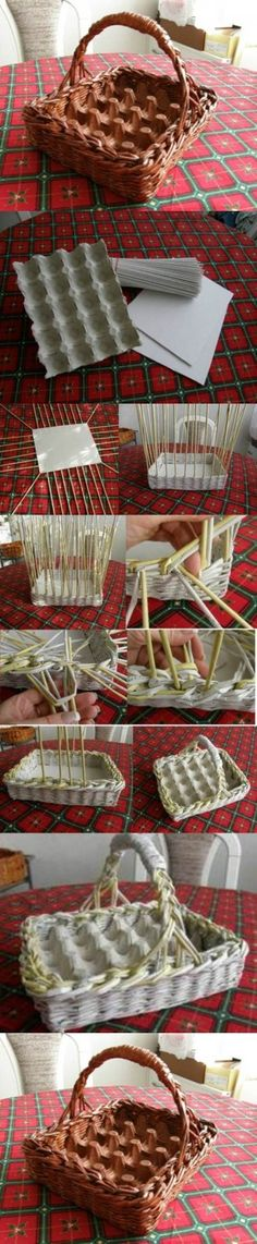 Cut egg carton piece to fit any basket already on hand. DIY Woven Paper Easter Egg Basket and Tray Too. For gathering daily eggs or Easter. Easter Egg Basket, Easter Eggs, Papier Diy, Diy Y Manualidades, Egg Carton Crafts, Paper Weaving, Diy Ostern, Newspaper Crafts, Newspaper Paper