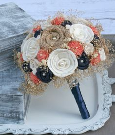 Custom Dyed Coral & Navy Rustic Heirloom Bride's Bouquet - Cream Ivory Sola Wood, Mixed Wildflowers, Burlap Flowers, Burlap Bouquet by TheSunnyBee on Etsy https://www.etsy.com/listing/233078475/custom-dyed-coral-navy-rustic-heirloom