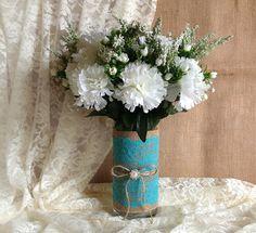 Rustic Deep Turquoise blue lace and natural burlap vase wedding, bridal shower decor