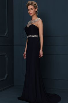 $134.69 - Jewel Neck Sheath Evening Dress with Beaded Belt. www.ucenterdress..... Shop for affordable evening gowns, prom dresses, white dresses, party dresses for women, little black dresses, long dresses, casual dresses, designer dresses, occasion dresses, formal gowns, cocktail dresses . We have great 2017 Evening Gowns on sale now. #evening #gowns