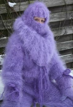Catsuit, Gros Pull Mohair, Extreme Knitting, Mohair Sweater, Cold Day, Dress Me Up, Lilac, Retro Vintage, Fur Coat
