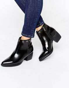 Park Lane Eyelet Mid Heeled Ankle Boots