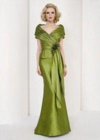 Vestido de fiesta verde seco