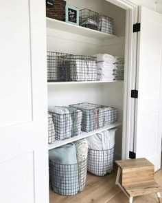Organize your linen closet beautifully, efficiently and easily just like a pro! Take a look at this gorgeous linen closet! ** Click image to read more details. #homedecor101