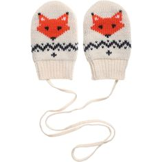 Petit Bateau Baby Ivory Knitted Fox Mittens with String at Childrensalon.com