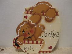 HP Gingerbread cookie jar Shelf Sitter hand painted USA  by countreecorner