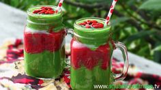 Try this delicious green smoothie with a strawberry centre. It's packed full of antioxidants, vitamins, and minerals with the superfoods spirulina and goji berries to top it off. Have it for breakfast as a perfect way to energise your day. www.squareonefitness.tv