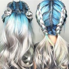 Wonderful silver blue ombre hairstyle