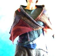 its a wrap. handspun  hand knitted  patchwork  by greybirdstudio