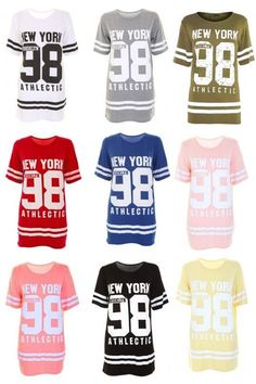 Ladies new york 98 #baseball varsity top #womens oversized #baggy t-shirt uk 8-14,  View more on the LINK: http://www.zeppy.io/product/gb/2/252085849902/