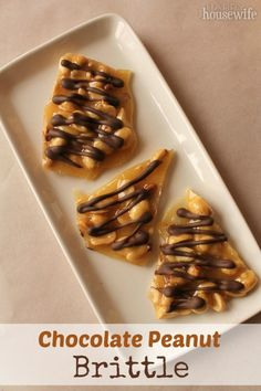 Chocolate Peanut Brittle that gives you a satisfying crunchy dessert drizzled with chocolate | The Happy Housewife