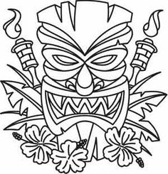 One tiki paradise head - as a PDF Colouring Pages, Adult Coloring Pages, Coloring Sheets, Coloring Books, Tiki Tattoo, Thema Hawaii, Tiki Maske, Tiki Head, Tiki Art