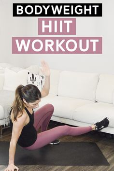 Bodyweight HIIT Workout - This quick bodyweight hiit workout will take you just over 12 minutes to complete. Video included! #hiit #bodyweightworkout #intervaltraining #athomeworkout
