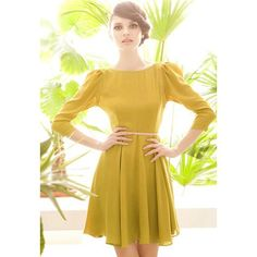 Stylish Boat Neck 3/4 Sleeves Big Hem Solid Color Open Back Georgette Women's Dress, YELLOW, ONE SIZE in Casual Dresses | DressLily.com