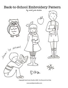 Hand Embroidery free Sarah Jane back to school embroidery pattern I like the owl and the boy reading. Nice for reading nook art. - You're gonna love these free embroidery designs from Sarah Jane! Cute Embroidery Patterns, Embroidery Designs, Embroidery Transfers, Embroidery Applique, Cross Stitch Embroidery, Purse Patterns, Sewing Patterns, Sew Mama Sew, Embroidery Techniques