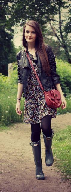 dress, leather jacket & hunter boots