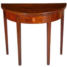 Hepplewhite Inlaid Mahogany Demilune Card Table