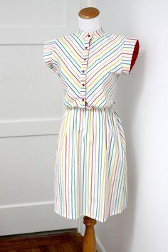 Vintage+Rainbow+Stripes+Dress+Small