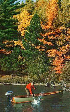 """VINTAGE 1950's EVINRUDE OUTBOARD MOTOR- Vintage Lake Fishing- (3.5""""X5.5"""") Unused"""