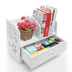 White Laser Cut Flower Design Book Storage Drawer  Display Shelf Rack  Desktop Organizer Bookcase * You can find more details by visiting the image link.