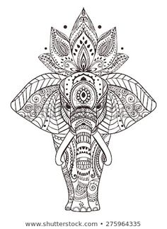 Greeting Beautiful card with Elephant. Frame of peacock made in vector. Perfect cards, or for any other kind of design, birthday and other holiday.Seamless hand drawn map with Elephant - koop deze stockvector op Shutterstock en vind andere afbeeldingen. Mandala Drawing, Mandala Art, Zentangle Patterns, Zentangles, Doodle Patterns, Henna Designs, Tattoo Designs, Elefante Hindu, Elephant Tattoos