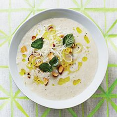 Fennel Soup with Almond-Mint Topping | MyRecipes.com https://www.facebook.com/nojokefitness #FitGang #TeamJester #Nojokesfitness