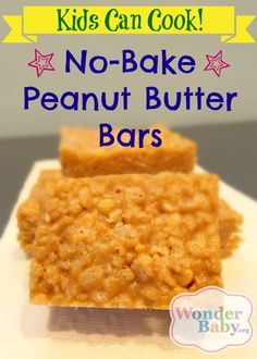 This recipe for no-bake peanut butter bars is both easy and tasty! A fun first recipe for kids.