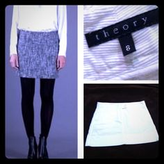 🎉HP 12/8🎉 ⚡️Theory White Corduroy Mini 🎉Host Pick 12/8 Party🎉⚡️Reduced⚡️ Theory White Corduroy Mini with flat-front button closure in beautifully pre-owned condition!  Size 8.  Worn once, or twice.  Pair this fierce little skirt with dark opaque tights, short boots, blouse or sweater & a fab bag!!  Day to night...this Theory mini is a winner!! Theory Dresses