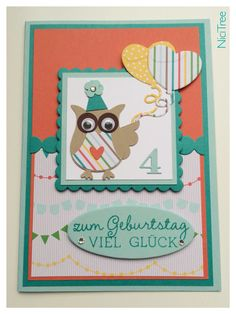 Stampin Up! Birthday Card, 4th Birthday, Owl Punch, Sizzix squares scallop, Marianne Design heart balloon
