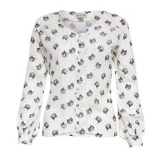 Fridey Cream Cat Print Blouse | Vintage Inspired Fashion - Lindy Bop
