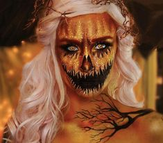 When glam meets spooky 🎃✨ transforms herself into a pumpkin queen with our SFX Creme Colour in Yellow & Red + White Liquid Liner + Matte Liquid Liner 🧡 Halloween Pumpkin Makeup, Crazy Halloween Makeup, Halloween Makeup Looks, Crazy Makeup, Halloween Kiss, Scarecrow Makeup, Halloween Inspo, 31 Days Of Halloween, Halloween 2018